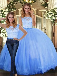 Colorful Floor Length Two Pieces Sleeveless Blue Sweet 16 Dresses Clasp Handle