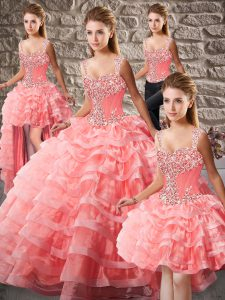 Watermelon Red Organza Lace Up Quinceanera Dresses Sleeveless Court Train Beading and Ruffled Layers