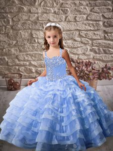 Blue Ball Gowns Organza Straps Sleeveless Beading and Ruffled Layers Lace Up Pageant Dress for Teens Brush Train