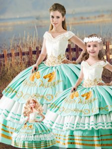 Glittering Satin V-neck Sleeveless Lace Up Embroidery and Ruffled Layers Quinceanera Dresses in Apple Green