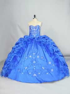 Best Sweetheart Sleeveless Lace Up Quince Ball Gowns Blue Taffeta