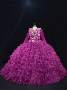 Purple Ball Gowns Organza V-neck Long Sleeves Beading and Ruffled Layers Floor Length Lace Up Sweet 16 Quinceanera Dress