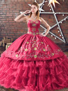 Embroidery and Ruffled Layers Quinceanera Gown Red Lace Up Sleeveless Floor Length