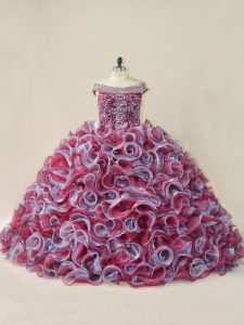 Multi-color Lace Up Off The Shoulder Beading and Ruffles 15 Quinceanera Dress Organza Sleeveless Court Train