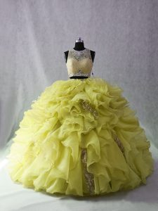 Custom Design Yellow Green Ball Gown Prom Dress Sweet 16 and Quinceanera with Beading and Ruffles Scoop Sleeveless Brush Train Zipper