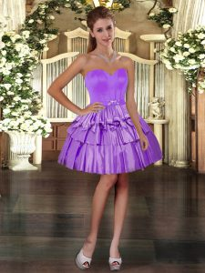 Mini Length Purple Prom Dress Sweetheart Sleeveless Lace Up