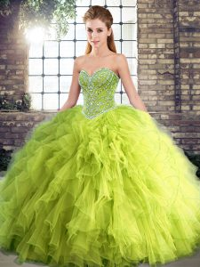Yellow Green Sleeveless Tulle Lace Up Vestidos de Quinceanera for Military Ball and Sweet 16 and Quinceanera