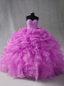 Affordable Beading and Ruffles and Pick Ups Ball Gown Prom Dress Lilac Lace Up Sleeveless Floor Length