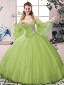 Floor Length Ball Gowns Long Sleeves Olive Green Ball Gown Prom Dress Lace Up
