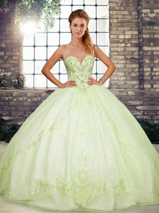 Yellow Green Ball Gowns Sweetheart Sleeveless Tulle Floor Length Lace Up Beading and Embroidery Quinceanera Gowns