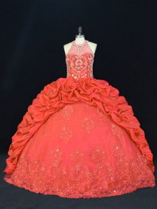 Halter Top Sleeveless Quince Ball Gowns Floor Length Beading and Appliques and Embroidery Red Taffeta