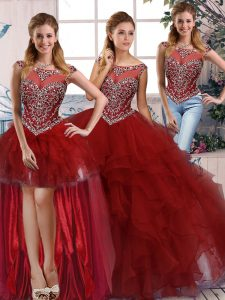 High Quality Organza Scoop Sleeveless Zipper Beading and Ruffles Ball Gown Prom Dress in Burgundy