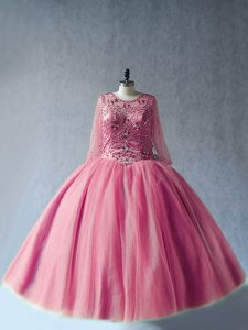 Artistic Floor Length Pink Quinceanera Dresses Scoop Long Sleeves Lace Up