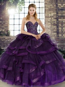 Flare Purple Tulle Lace Up Sweet 16 Dresses Sleeveless Floor Length Beading and Ruffles