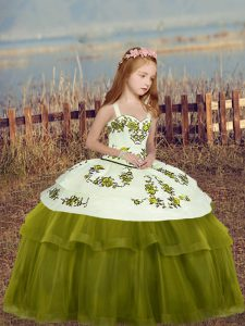 Cheap Floor Length Olive Green Kids Pageant Dress Tulle Sleeveless Embroidery