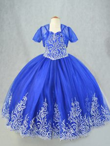 Excellent Sleeveless Lace Up Floor Length Beading and Embroidery Girls Pageant Dresses