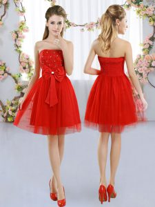 Edgy Sleeveless Tulle Mini Length Side Zipper Quinceanera Court of Honor Dress in Red with Beading and Bowknot
