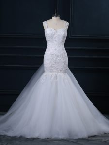 Cheap White Sleeveless Watteau Train Lace Wedding Dresses