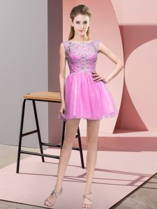Colorful Lilac Tulle Zipper Dress for Prom Sleeveless Mini Length Beading