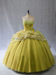 Romantic Tulle Sweetheart Sleeveless Brush Train Lace Up Appliques and Ruffles Quinceanera Dress in Olive Green