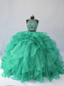 Best Turquoise Ball Gowns Beading and Ruffles 15th Birthday Dress Backless Organza Sleeveless