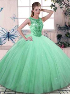 Deluxe Floor Length Lace Up 15th Birthday Dress Apple Green for Military Ball and Sweet 16 and Quinceanera with Beading