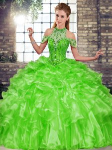 Glorious Beading and Ruffles Sweet 16 Quinceanera Dress Green Lace Up Sleeveless Floor Length
