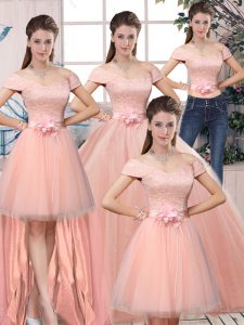 Luxurious Pink Ball Gowns Off The Shoulder Short Sleeves Tulle Floor Length Lace Up Lace and Hand Made Flower 15 Quinceanera Dress