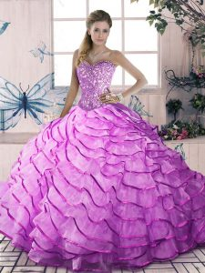 Sweetheart Sleeveless Organza Quince Ball Gowns Beading and Ruffles Brush Train Lace Up