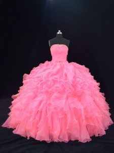 Luxury Pink Sleeveless Beading and Ruffles Floor Length Vestidos de Quinceanera