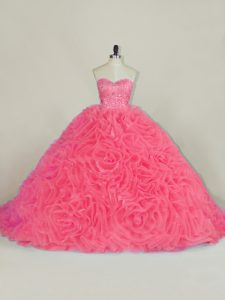 Excellent Court Train Ball Gowns Sweet 16 Quinceanera Dress Red Halter Top Fabric With Rolling Flowers Sleeveless Lace Up