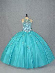 Excellent Sleeveless Tulle Floor Length Lace Up Vestidos de Quinceanera in Aqua Blue with Beading
