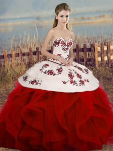 Comfortable Tulle Sweetheart Sleeveless Lace Up Embroidery and Ruffles and Bowknot Ball Gown Prom Dress in White And Red