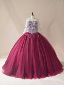 Long Sleeves Beading Lace Up 15 Quinceanera Dress with Burgundy Brush Train