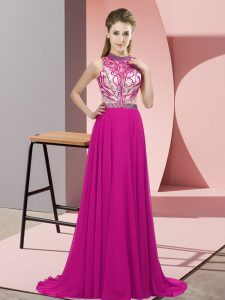 Empire Sleeveless Fuchsia Oscars Dresses Brush Train Backless