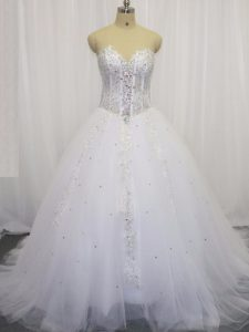 Tulle Sweetheart Sleeveless Court Train Lace Up Beading and Appliques Wedding Dresses in White