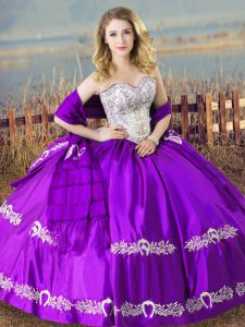Ideal Purple Vestidos de Quinceanera Sweet 16 and Quinceanera with Beading and Embroidery Sweetheart Sleeveless Lace Up
