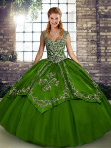 Olive Green Tulle Lace Up Quinceanera Dresses Sleeveless Floor Length Beading and Embroidery