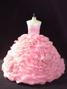 Beautiful Pink Organza Lace Up Sweetheart Sleeveless Sweet 16 Dresses Court Train Beading and Pick Ups and Hand Made Flower
