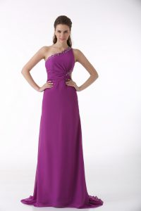 Excellent Fuchsia One Shoulder Neckline Beading and Ruching Evening Dress Sleeveless Backless