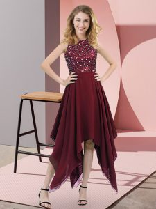 Nice Asymmetrical Burgundy Dress for Prom High-neck Sleeveless Zipper