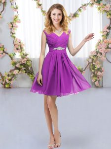 Empire Quinceanera Court of Honor Dress Purple V-neck Chiffon Sleeveless Mini Length Zipper