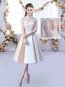 Satin High-neck Half Sleeves Lace Up Lace and Belt Wedding Guest Dresses in Champagne