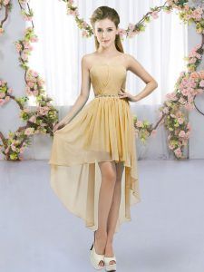 Glittering Gold Sleeveless High Low Beading Lace Up Wedding Party Dress