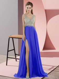 Blue Evening Gowns Prom and Party with Beading V-neck Sleeveless Sweep Train Zipper