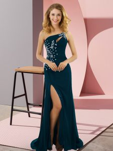 Low Price Teal Sleeveless Sweep Train Beading Prom Party Dress