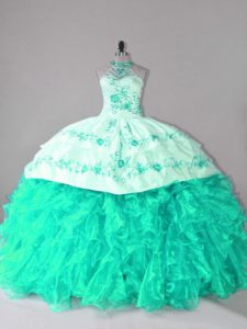 Turquoise Sleeveless Court Train Embroidery and Ruffles Ball Gown Prom Dress
