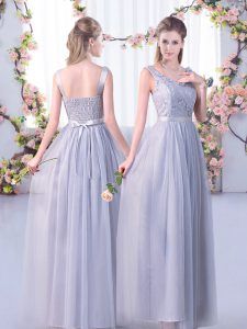 Grey Tulle Side Zipper Bridesmaids Dress Sleeveless Floor Length Lace and Belt