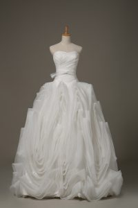 White Sweetheart Neckline Belt Wedding Gown Sleeveless Lace Up