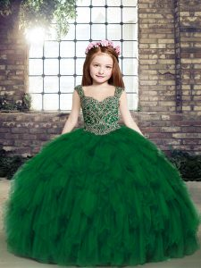 Dark Green Tulle Lace Up Straps Sleeveless Floor Length Girls Pageant Dresses Beading and Ruffles